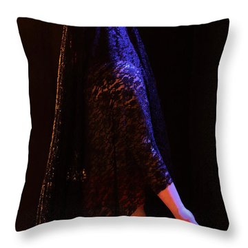 Throw Pillow featuring the photograph Blue Silk Lace by Viktor Savchenko