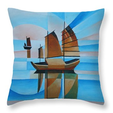 Throw Pillow featuring the painting Blue Skies And Cerulean Seas by Tracey Harrington-Simpson