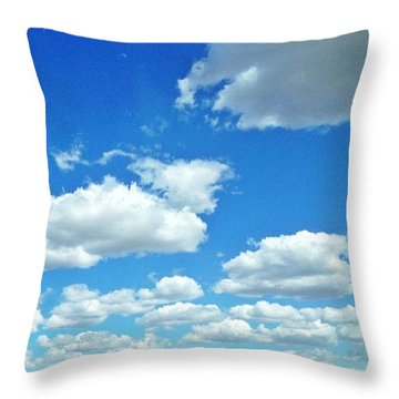 Blue Sky And White Clouds Throw Pillow