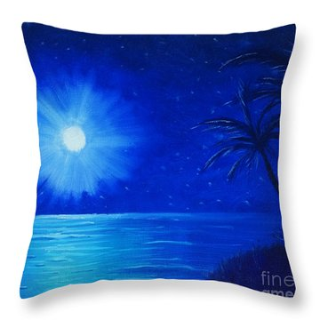 Throw Pillow featuring the painting Blue Sky At Night by Arlene Sundby