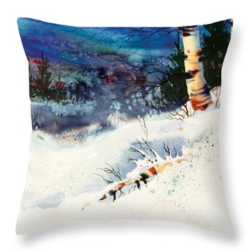 Blue Sky Birch Throw Pillow