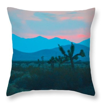 Blue Sky Cacti Sunset Throw Pillow