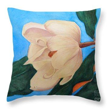 Blue Sky Magnolia Throw Pillow by Nancy Kane Chapman