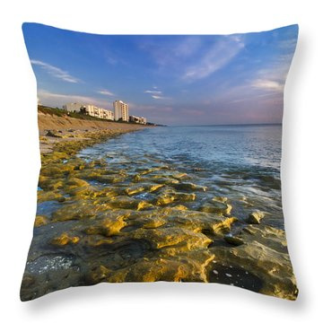 Blue Sky Over Coral Cove Throw Pillow by Debra and Dave Vanderlaan