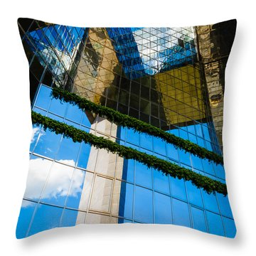 Throw Pillow featuring the photograph Blue Sky Reflections On A London Skyscraper by Peta Thames