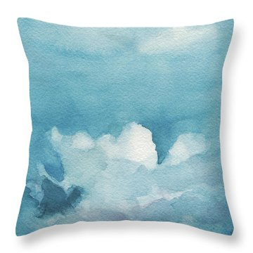 Blue Sky White Clouds Watercolor Painting Throw Pillow