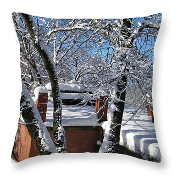Blue Sky-white Snow Throw Pillow by Tom Mansfield