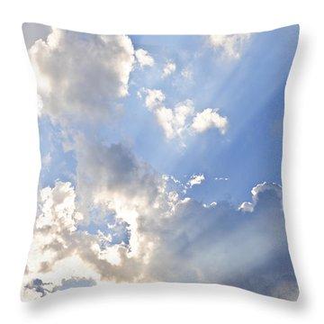 Blue Sky With Sun Rays Throw Pillow