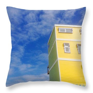 Blue Sky Yellow House Throw Pillow
