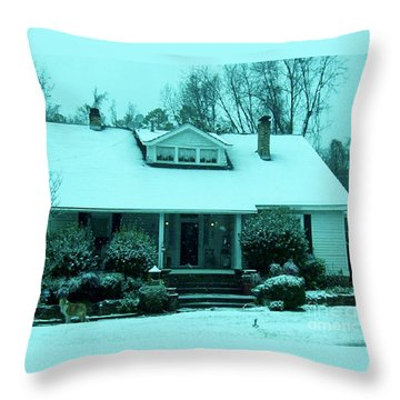 Blue Snow  Throw Pillow by Eloise Schneider