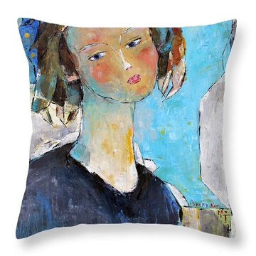 Throw Pillow featuring the painting Blue Sonata by Becky Kim