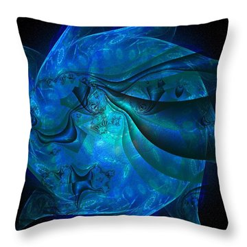 Blue Sphere Throw Pillow by Nancy Pauling