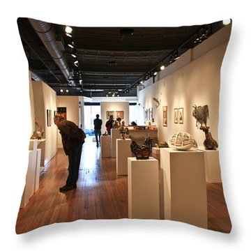 Blue Spiral Gallery In Asheville Throw Pillow