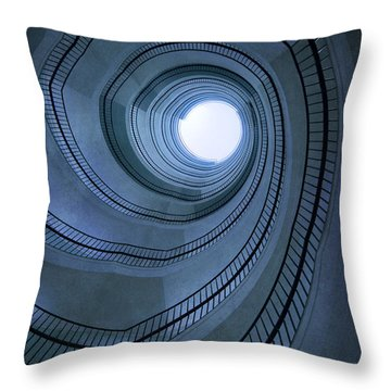 Blue Spiral Staircaise Throw Pillow by Jaroslaw Blaminsky