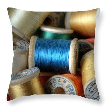Blue Spool  Throw Pillow