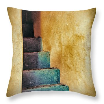 Blue Stairs - Yellow Wall    Throw Pillow