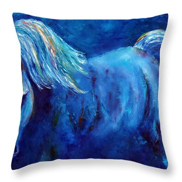 Blue Stallion Throw Pillow