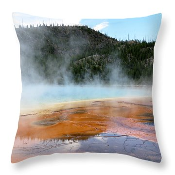 Throw Pillow featuring the photograph Blue Steam by Laurel Powell