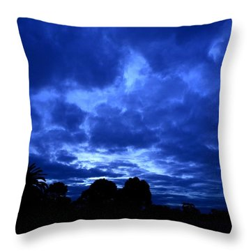 Blue Storm Rising Throw Pillow