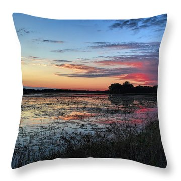 Blue Sunset Over The Refuge Throw Pillow