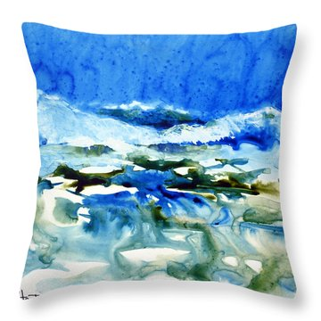 Blue Surf Throw Pillow