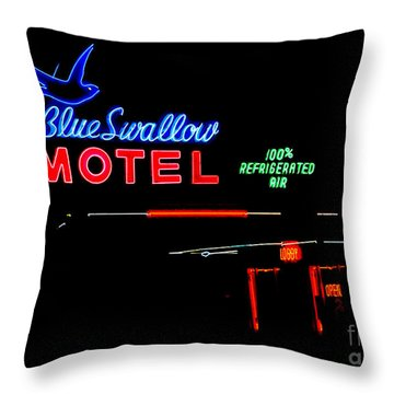 Blue Swallow Motel Neon Sign Throw Pillow by Catherine Sherman