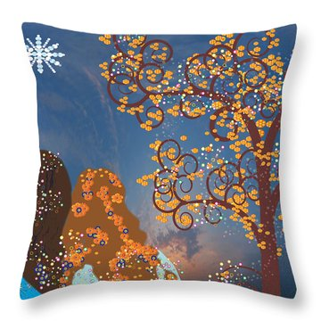 Blue Swirl Girls Throw Pillow by Kim Prowse
