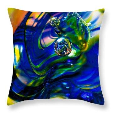 Blue Swirls Throw Pillow by David Patterson