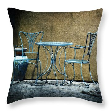 Throw Pillow featuring the photograph Blue Table And Chairs by Lucinda Walter