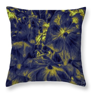 Blue Tango Floral Throw Pillow by Jean OKeeffe Macro Abundance Art