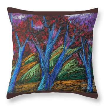 Central Park Blue Tempo Throw Pillow by Elizabeth Fontaine-Barr