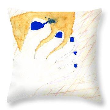 Blue The Big Toe Throw Pillow
