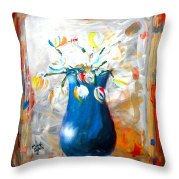 Blue Thing Throw Pillow by Marcello Cicchini