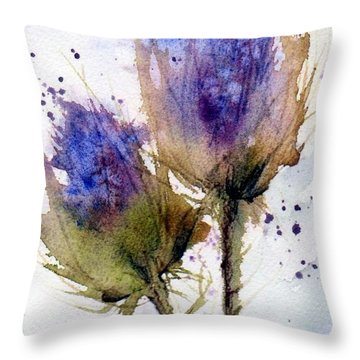 Blue Thistle Throw Pillow