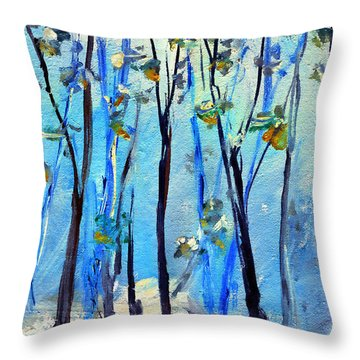 Blue Thoughts In Winter Throw Pillow
