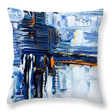 Blue Thunder Throw Pillow by Rebecca Davis