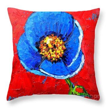 Blue Tibetan Poppy Throw Pillow by Ana Maria Edulescu