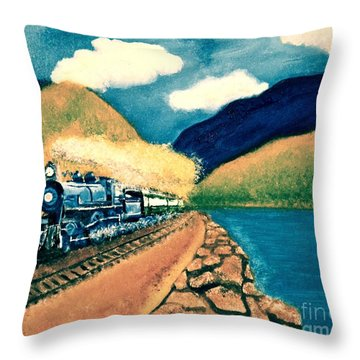 Blue Train Throw Pillow