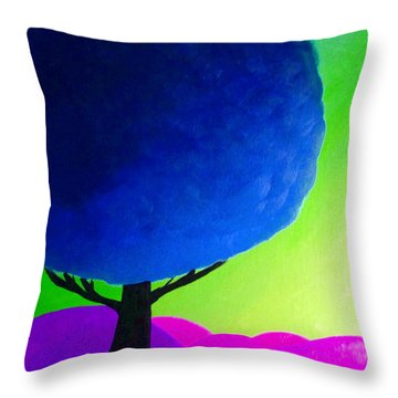 Throw Pillow featuring the painting Blue Tree by Anita Lewis