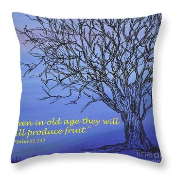 Throw Pillow featuring the painting Blue Tree by Kathleen Pio