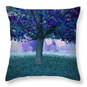 Blue Tree Monet Painting Background Throw Pillow