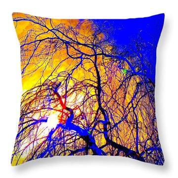 Throw Pillow featuring the photograph Blue Trees by Jodie Marie Anne Richardson Traugott          aka jm-ART