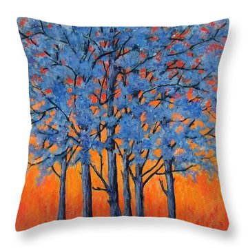 Throw Pillow featuring the painting Blue Trees On A Hot Day by Suzanne Theis