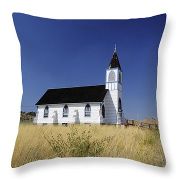 Throw Pillow featuring the photograph Blue Trim Church by Fran Riley