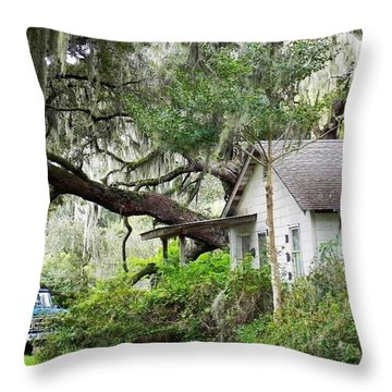 Throw Pillow featuring the photograph Blue Truck And Moss by Patricia Greer