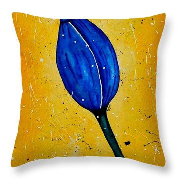 Blue Tulip Abstract Acrylic Painting By Saribelle Throw Pillow by Saribelle Rodriguez