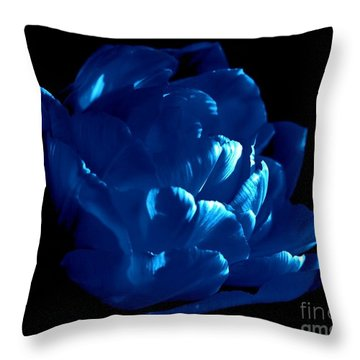 Blue Tulip Throw Pillow by Sylvie Leandre