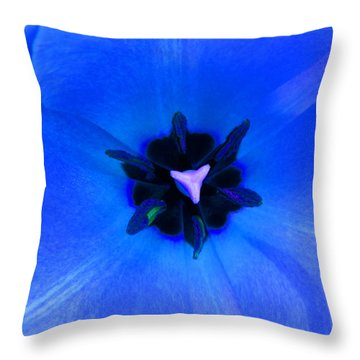 Blue Tulip Throw Pillow by Tina M Wenger