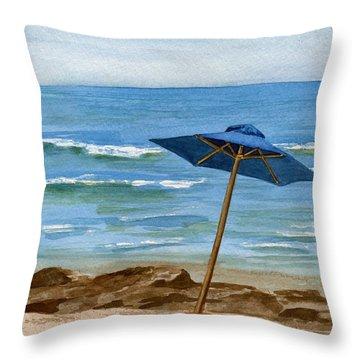 Blue Umbrella Throw Pillow by Nancy Patterson