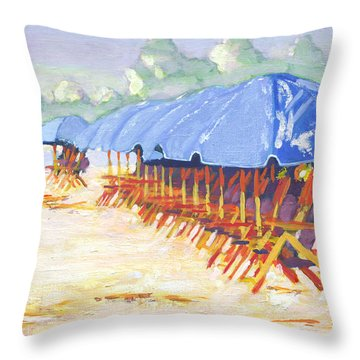 Blue Umbrellas Throw Pillow